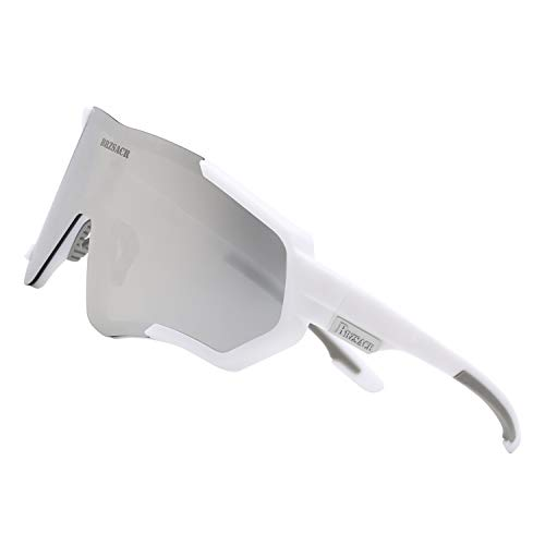 BRZSACR Polarisierte Sport-Sonnenbrille mit austauschbaren Lenes für Männer Frauen Radfahren Laufen Fahren Angeln Golf Baseball Brillen (3-Farben-Wechselobjektiv) (Grau weiß)