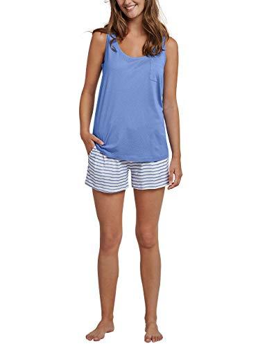 Schiesser Damen Anzug kurz, 0/0 Arm Zweiteiliger Schlafanzug, Blau (Atlantikblau 899), 38 (Herstellergröße: 038)