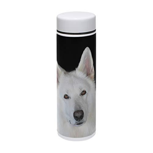 MUOOUM Lustige Hunde-Trinkflasche mit Smile-Look, Vakuum-isoliert, Edelstahl, für 12 Stunden