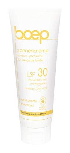 boep Sonnencreme Sensitiv LSF30 - Parfümfrei, mineralisch für Babys, Kinder & Erwachsene mit hochsensibler Haut - Naturkosmetik Sonnenschutz - Vegan, riff-freundlich, schnell einziehend (100 ml)