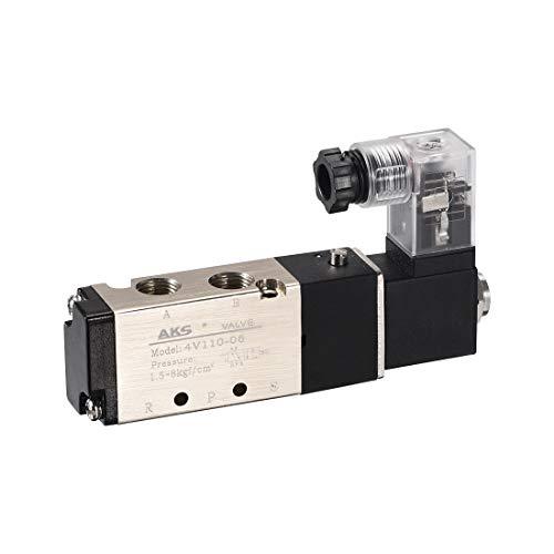 sourcing map Elektrische Magnetventil 4V110-06 für Luftsteuerung AC 220V 5 Wege 2 Position 1/8