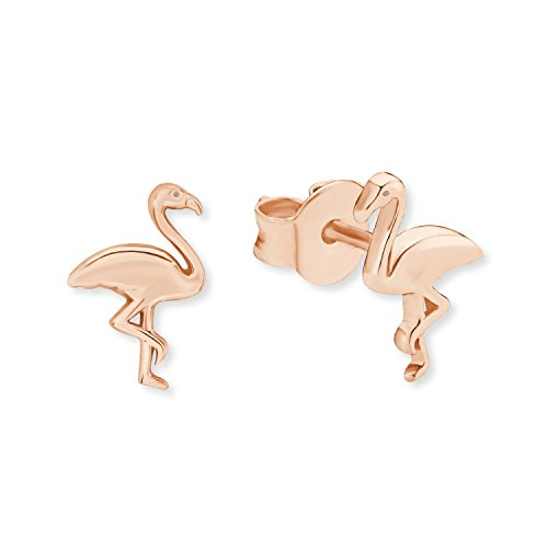 s.Oliver Damen-Ohrstecker So Pure Flamingo 925 Sterling Silber rosévergoldet