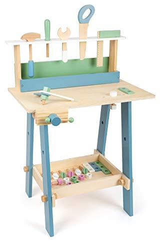 """small Foot 11375 Werkbank \""""Nordic\"""" aus Holz, Kinder Werkbank mit Werkzeug und Zuberhör in hellen Farben, ab 3 Jahren"""