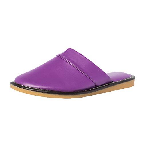 Haisum Damen Sommer Weiche Schlafzimmer Luxus Leder Bequeme Geschlossen Haus Hausschuhe Purple