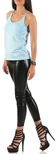Malito Damen Top in Uni Farben | T-Shirt mit gekreuzten Trägern | Basic Oberteil �?Trägertop �?ohne Arm 1330 Hellblau