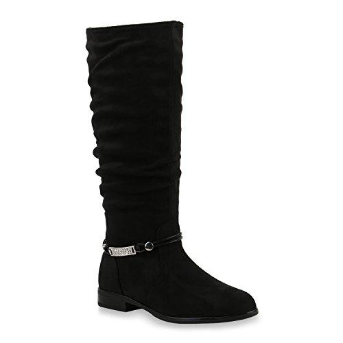 Stiefelparadies Damen Klassische Stiefel Strass Zierperlen Schuhe 146066 Schwarz Bernice 40 Flandell