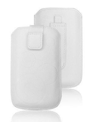 Deko Handytasche für Alcatel One Touch IDOL DUAL SIM in Weiß Leder Handy Schutz Tasche Pull-UP + - Dual-tasche-gürtel