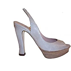 Pura Lopez Damen Sling Sandalen Leder p287 taupe-grau Größe 36