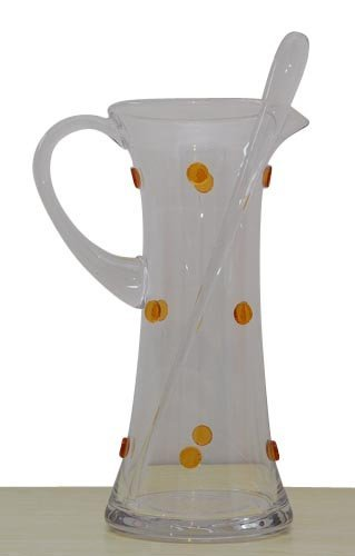 GAC Glass Martini Pitcher With Spout and Mixing Stirrer Thick Glass Designed With Unique Gold Dots by GAC -