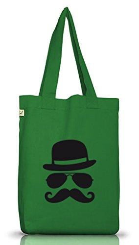 Shirtstreet24, COOL MOUSTACHE, Mustache Schnurrbart Jutebeutel Stoff Tasche Earth Positive Moss Green
