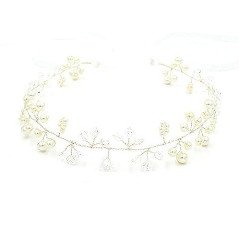Déesse mariée mariage Serre-tête Bandeau Perle Bandeau–Oreillette Pearl Couronne (Silver)