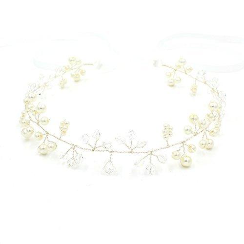 Göttin Brautschmuck Hochzeit Haarband Kopfbedeckung Perle Stirnband – Pearl Crown Strassbesatz (Royal Crown Kostüm Halloween)