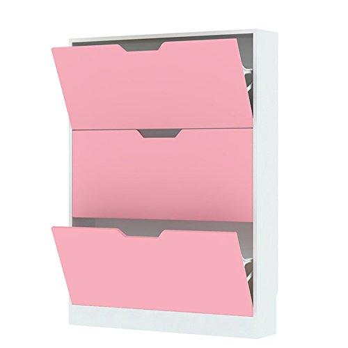 WYY HPLL Schuhregale Einfacher Haushalts-Multi-Gitter Schuhregal/kreativer staubdichter Tipping Bucket Shoebox/Moderne Foyer-Speicher-Kabinette (80 * 17 * 108 cm) Flur Schrankgestelle (Farbe : Pink) - Holz-speicher-kabinette