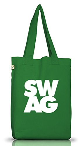 Shirtstreet24, SWAG , Swagger Rap Hip Hop Money Jutebeutel Stoff Tasche Earth Positive (ONE SIZE) Moss Green