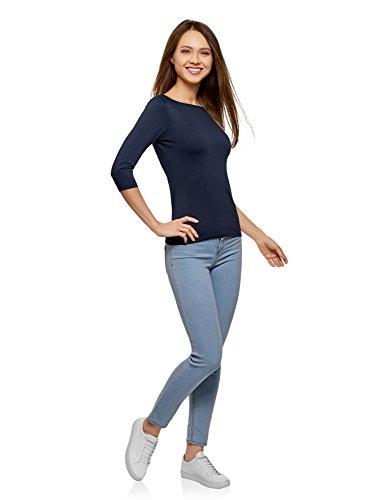 oodji Collection Damen T-Shirt Basic mit 3/4-Ärmeln Blau (7900N)
