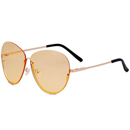 YaNanHome Sonnenbrillen Brillen & Zubehör Neue Sonnenbrille Weibliche UV-Schutz Brille Großen Rahmen Transparent Ozean Film Sonnenbrille Koreanischen Stil Brille Gezeiten (Color : Yellow)