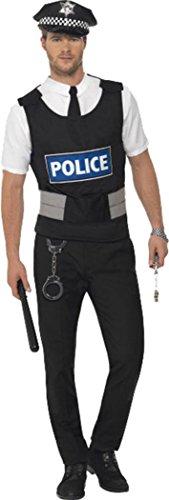 Smiffys Erwachsene Herren Cops & Räuber Fancy Kleid Polizist Instant Kit Komplettes Outfit, Schwarz