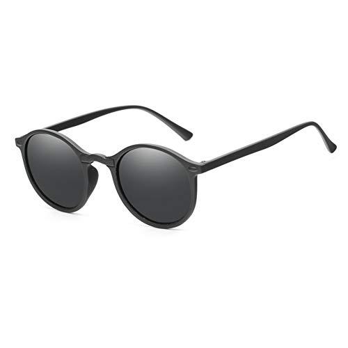LAOGUAISHOU Frauen Polarisierte Runde Sonnenbrille Retro Vintage UV400 Fahren Steampunk Eyewear Männliche Kleine Sonnenbrille (Lens Height : 44mm, Lens Width : 48mm-Black Grey)