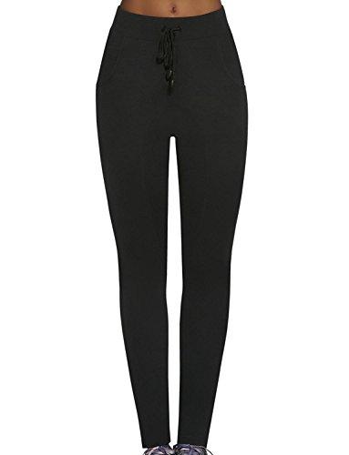 Bas Bleu Glade Pantalon Feminin Souple Taille Normale Collante Bariolé Top Qualité- Fabriqué En UE Noir