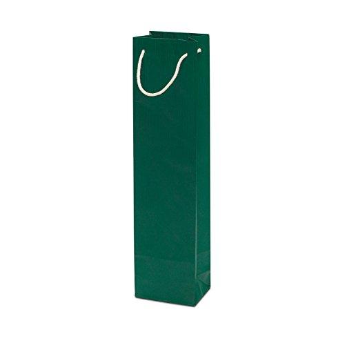 50 x Weintasche grün 95+65x380 cm | stabile Geschenktasche | Flaschentasche Baumwollkordel | Flaschentüten | Wine Bag | HUTNER