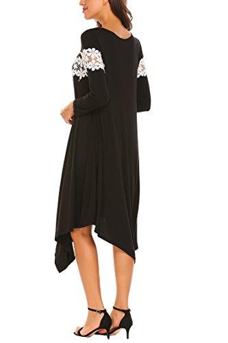 Trudge Damen Langärmliges Kleid Lose T-Shirt Brust Weben Von Blumen Unregelmäßiger Saum Freizeit Mode Bequem Schwarz