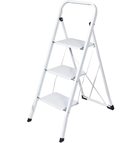 Preisvergleich Produktbild J Living faltbar 3Schritt Stahl Leiter rutschfeste Stehleiter