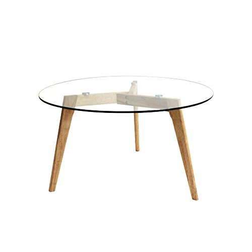 THE HOME DECO FACTORY HD3800 Table ronde Bois/Verre Transparent/Marron 80 x 80 x 45 cm