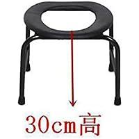 SCZLSYL Mes asiento commode taburete de tocador anciano taburete de baño de tocador de mujer embarazada inodoro , black 30cm