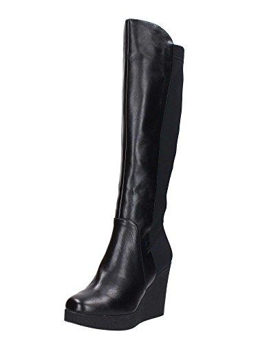 Cafe Noir Boot Femme Wedge Cm 9 PL Cm 2 Cuir Stretch Lycra Fermeture eclair noir