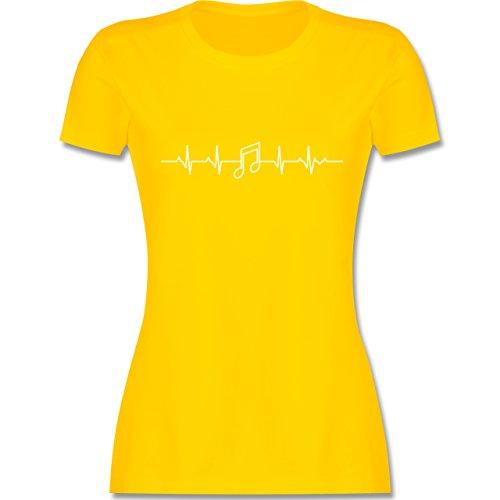 Symbole - Herzschlag Musik Note - XXL - Gelb - L191 - Damen T-Shirt Rundhals (T-shirt Symbol Gelb)