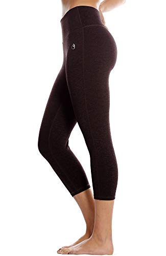 icyzone 3/4 Sport Leggings Damen Sporthose Laufhose - Hohe Taille Training Tights Yoga Hosen Capri (L, Wine)