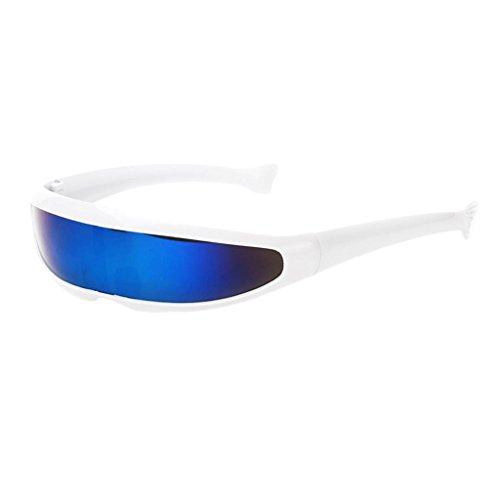 IPOTCH Männer Frauen Futuristische Partybrille Sonnenbrille Verspiegelte Alien - Weiß ()