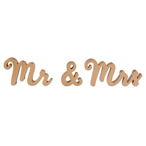 Sass & Belle Gold MR & MRS Hochzeit Geschenk Holz Buchstabe Buchstaben und Zeichen Dekoration Tisch Top (Mr Und Mrs Hochzeit Tisch Zeichen)