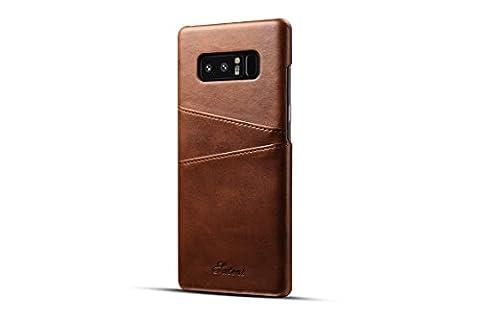 FQIAO Samsung Note 8 Hülle, PU Leder Schützende präzise Phone Back Cover Durable Cases Slim Fit mit zwei Card Slots Braun für Samsung Note 8 2017 Release