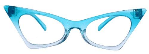 50er Jahre Fashion Brille Cat Eye Modell Klarglas ohne Stärke Vintage Nerdbrille mit Farbverlauf...