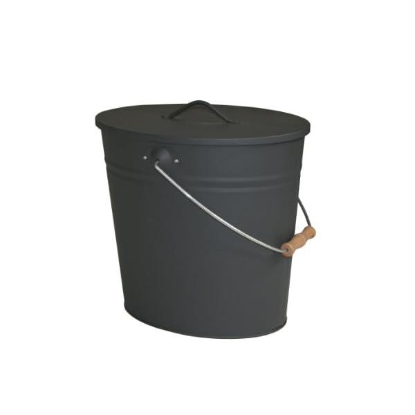 Kamino-Flam 333251, Cubo para cenizas, diseño oval, 15 L, 34x30x24 cm, color gris antracita
