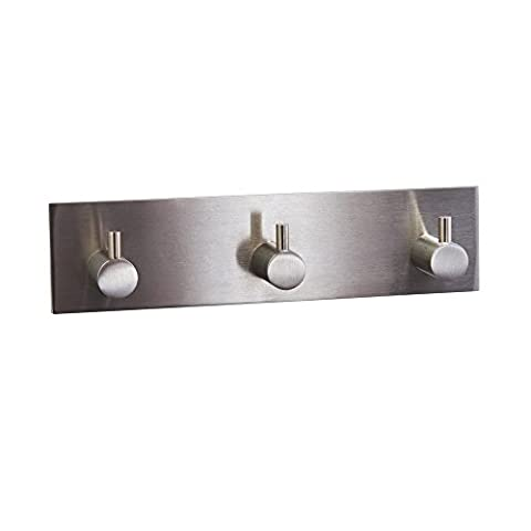 KES A7060H3 Bathroom Lavatory Self Adhesive Coat and Robe Hook Rack/Rail with 3 Hooks, Brushed Stainless Steel
