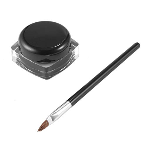 camillia-de Professional Waterproof Long-Lasting Gel Eye Liner Shadow Cream Cosmetics Eyeliner with Brush Black Set Makeup Eyeliner -