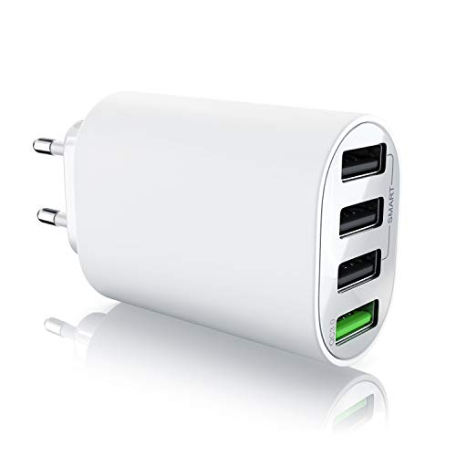 Aplic - QC 3.0 Caricabatterie USB a 35W | Alimentatore a 4 porte incl. Quick Charge carica rapida | Smart Charge + Solid Charge | adatto per telefoni cellulari smartphone navis tablet. Bianco