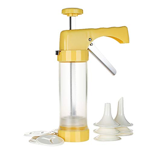 WINLISTING Vatertag Drücken Sie Kunststoff Cookie Set Cutter DIY Kuchen Cookie Maker Backen Gebäck zu (Gelb) (Drücken Sie Cookie Maker)