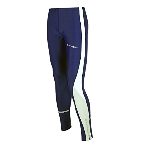 Airtracks Winter Funktions Laufhose Lang/Damen oder Herren/Thermo Running Tight/Atmungsaktiv/Reflektoren - navy-blau - XXL - Herren
