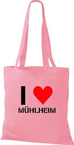 ShirtInStyle Stoffbeutel I LOVE MÜHLHEIM Deine Stadt diverse Farbe classic pink