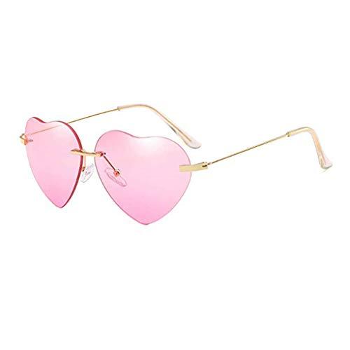 CANDLLY Brillen Damen, Zubehör Mode Neuer Retro Brille Liebe Ozeanstück Sonnenbrillen Straßenschlag Pfirsich Herz geformt Sonnenbrille