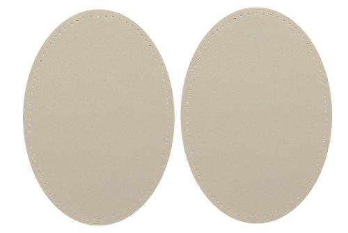 alles-meine.de GmbH 2 tlg. Set: ovaler Flicken -  Beige Creme  - Leder - 9,6 cm * 14,4 cm - Zum...
