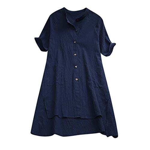 Voberry@ Women's Clearance Sale! Blouse, s Buttons Asymmetrical Loose Tunic Tops Blouse (S,)