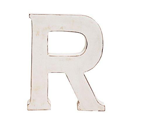 """kadoh Buchstabe \""""R\"""" (medium) Holz Höhe 20 cm Vintagelook shabby-chic creme-weiß"""