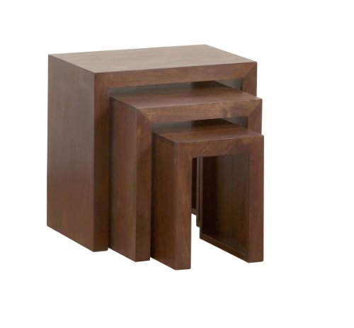 Homescapes Dakota Nest Of 3 Tables Dark Solid Mango Wood
