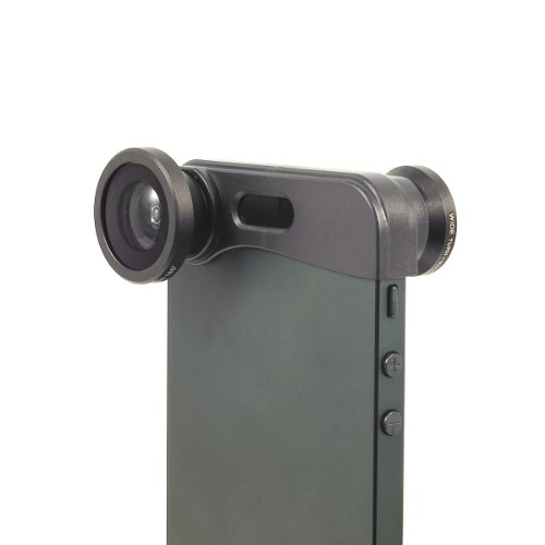 XCSOURCE® 3in1 Obiettivo Lente Lens Fisheye + Grandagolo + Obiettivo Micro foto Kit Set Per iPhone 5G 5 5S DC250B Nero