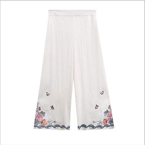 Chinesischen Stil Damen Kleidung Nationalen Stil Sommer Glocke Hosen Stickerei Tang Anzug Tägliche Studentenkleidung Bühnenperformance Rollenspiel Kleidung,White,A (White Bell Bottom Hose Kostüm)