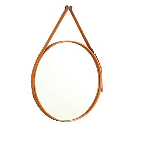 Moolo Schminkspiegel Badezimmerspiegel Wandmontage, HD Einstellbarer Ledergürtel Dekorativer Hängender Spiegel Anzug für Wohnzimmer Frisiertisch (Color : Orange) -